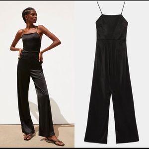 Zara satin black jumpsuit NWT